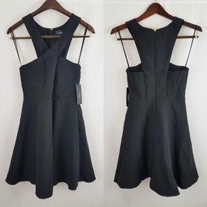Lulus Norma Black Skater Criss Cross Dress